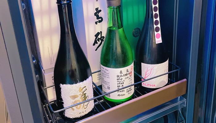 仕切りに合わせて日本酒保管